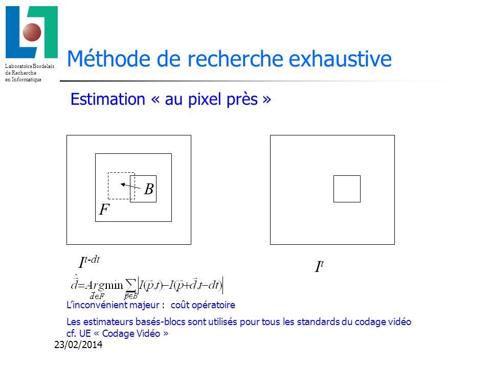 Laboratoire Bordelais de Recherche en Informatique 23/02/2014 Méthode de recherche exhaustive F B Estimation « au pixel près » I t-dt ItIt Linconvénie