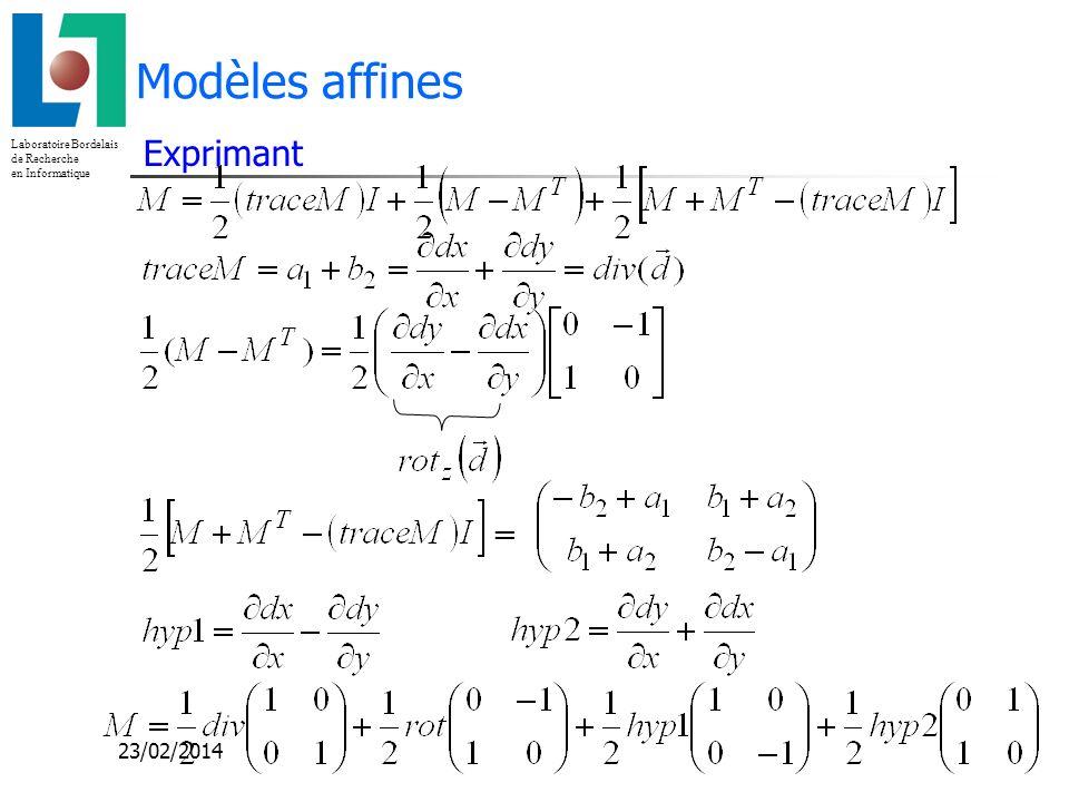 Laboratoire Bordelais de Recherche en Informatique 23/02/2014 Modèles affines Exprimant =