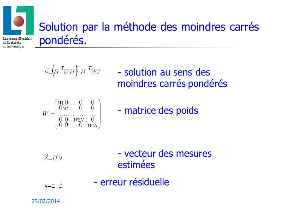Laboratoire Bordelais de Recherche en Informatique 23/02/2014 Solution par la méthode des moindres carrés pondérés.