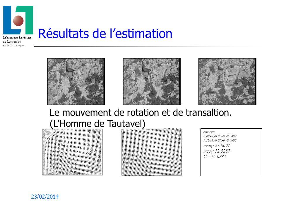 Laboratoire Bordelais de Recherche en Informatique 23/02/2014 Résultats de lestimation amodel: 6.4898,-0.0089,-0.0492 5.1634,-0.0598,-0.0098 mse 1 : 21.8697 mse 2 : 12.5257 C =15.0831 Le mouvement de rotation et de transaltion.