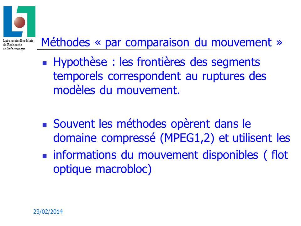 Laboratoire Bordelais de Recherche en Informatique 23/02/2014 Méthodes « par comparaison du mouvement » Hypothèse : les frontières des segments temporels correspondent au ruptures des modèles du mouvement.