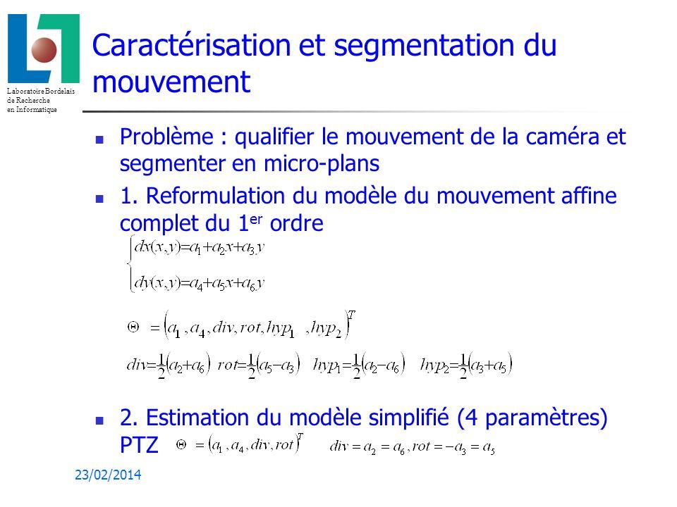 Laboratoire Bordelais de Recherche en Informatique 23/02/2014 Caractérisation et segmentation du mouvement Problème : qualifier le mouvement de la caméra et segmenter en micro-plans 1.