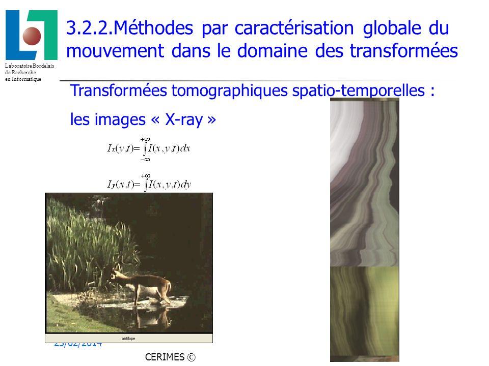 Laboratoire Bordelais de Recherche en Informatique 23/02/2014 3.2.2.Méthodes par caractérisation globale du mouvement dans le domaine des transformées Transformées tomographiques spatio-temporelles : les images « X-ray » CERIMES ©