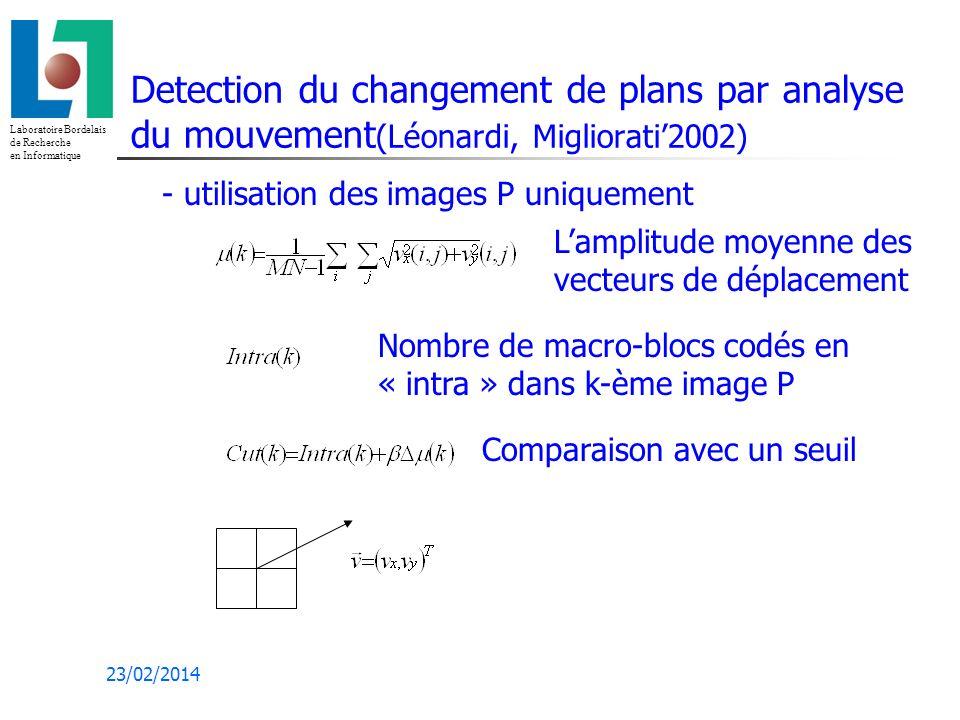 Laboratoire Bordelais de Recherche en Informatique 23/02/2014 Detection du changement de plans par analyse du mouvement (Léonardi, Migliorati2002) Lamplitude moyenne des vecteurs de déplacement Nombre de macro-blocs codés en « intra » dans k-ème image P Comparaison avec un seuil - utilisation des images P uniquement