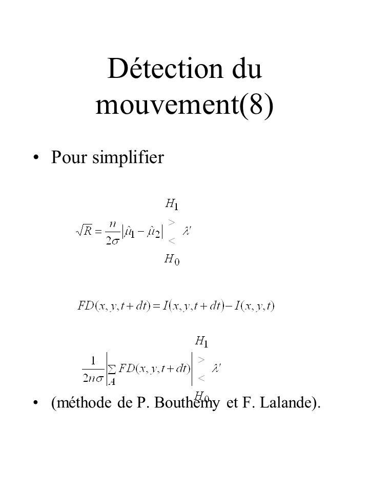 Détection du mouvement(8) Pour simplifier (méthode de P. Bouthemy et F. Lalande).