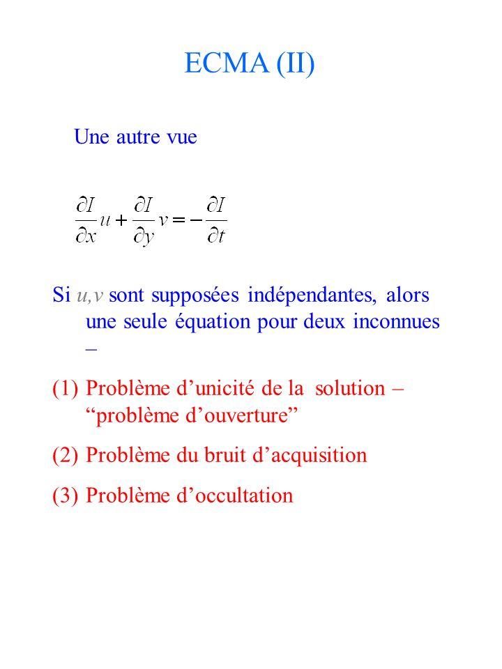 Une autre vue Si u,v sont supposées indépendantes, alors une seule équation pour deux inconnues – (1)Problème dunicité de la solution – problème douve