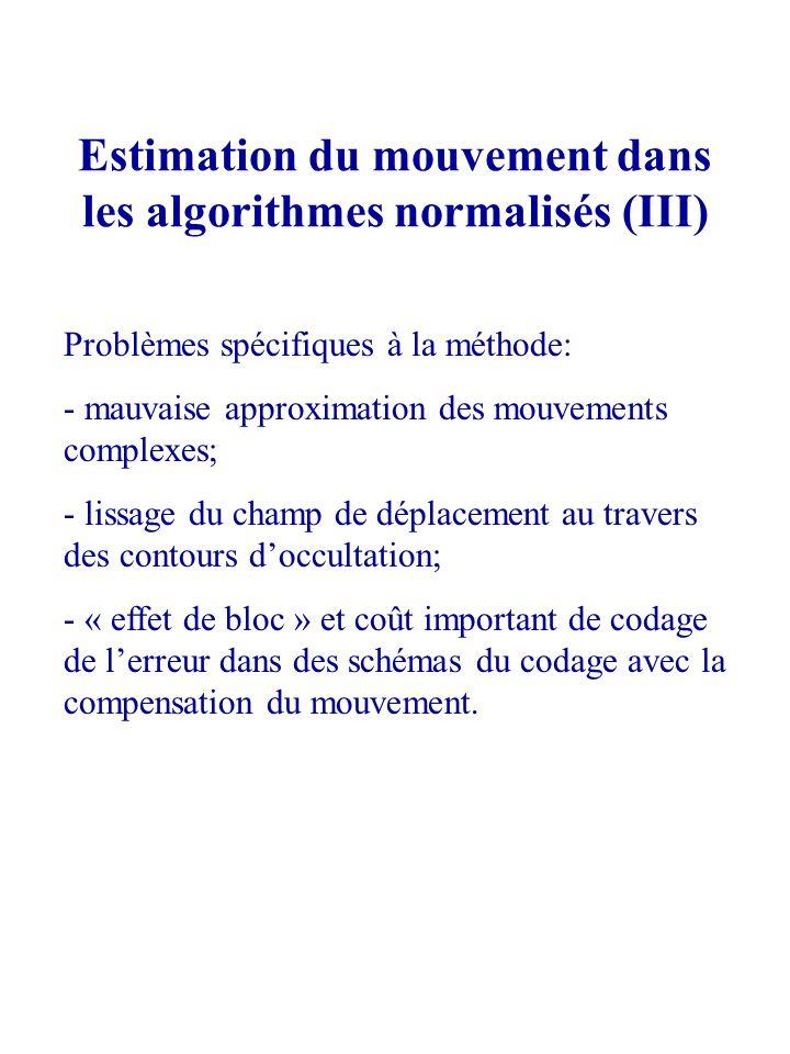 Estimation du mouvement dans les algorithmes normalisés (III) Problèmes spécifiques à la méthode: - mauvaise approximation des mouvements complexes; -