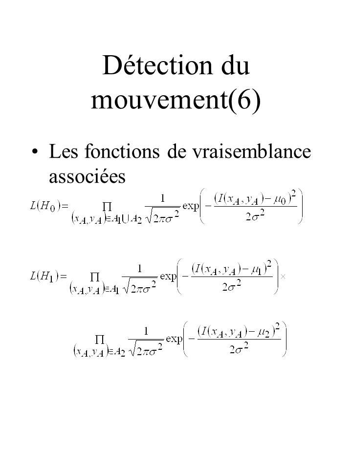Détection du mouvement(6) Les fonctions de vraisemblance associées