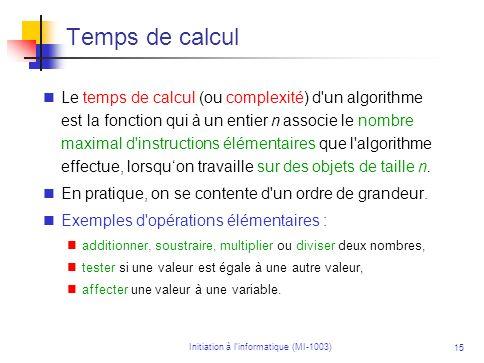 Initiation à linformatique (MI-1003) 15 Temps de calcul Le temps de calcul (ou complexité) d'un algorithme est la fonction qui à un entier n associe l