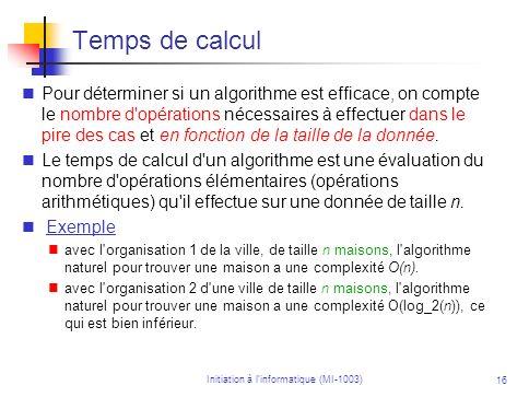 Initiation à linformatique (MI-1003) 16 Temps de calcul Pour déterminer si un algorithme est efficace, on compte le nombre d'opérations nécessaires à