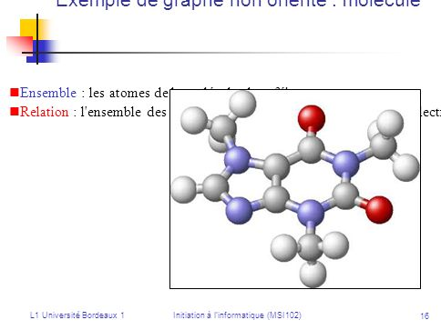 L1 Université Bordeaux 1Initiation à linformatique (MSI102) 16 Exemple de graphe non orienté : molécule Ensemble : les atomes de la molécule de caféin