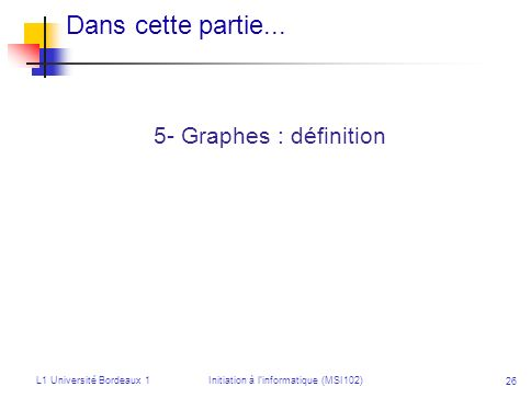 L1 Université Bordeaux 1Initiation à linformatique (MSI102) 26 Dans cette partie... 5- Graphes : définition