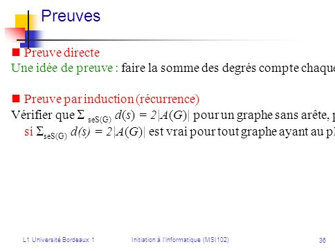 L1 Université Bordeaux 1Initiation à linformatique (MSI102) 36 Preuves Preuve directe Une idée de preuve : faire la somme des degrés compte chaque arê
