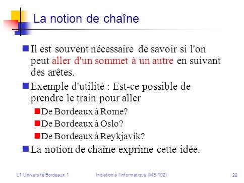 L1 Université Bordeaux 1Initiation à linformatique (MSI102) 38 Il est souvent nécessaire de savoir si l'on peut aller d'un sommet à un autre en suivan