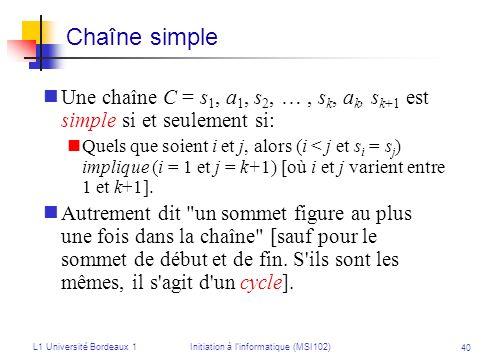 L1 Université Bordeaux 1Initiation à linformatique (MSI102) 40 Une chaîne C = s 1, a 1, s 2, …, s k, a k, s k+1 est simple si et seulement si: Quels q