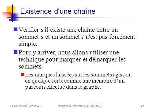 L1 Université Bordeaux 1Initiation à linformatique (MSI102) 42 Vérifier s'il existe une chaîne entre un sommet s et un sommet t n'est pas forcément si