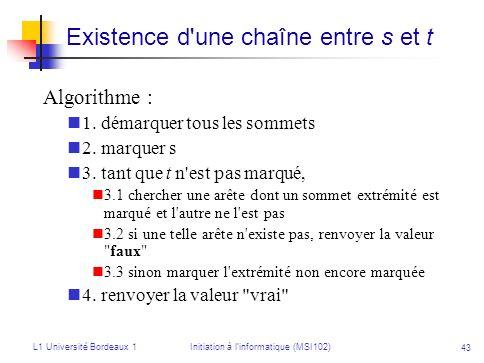 L1 Université Bordeaux 1Initiation à linformatique (MSI102) 43 Existence d'une chaîne entre s et t Algorithme : 1. démarquer tous les sommets 2. marqu