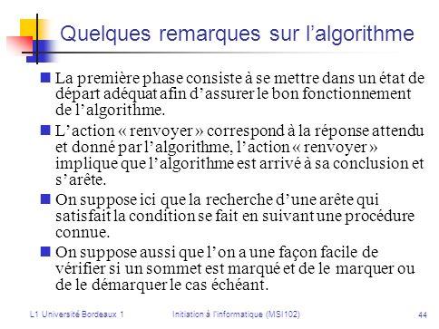 L1 Université Bordeaux 1Initiation à linformatique (MSI102) 44 Quelques remarques sur lalgorithme La première phase consiste à se mettre dans un état