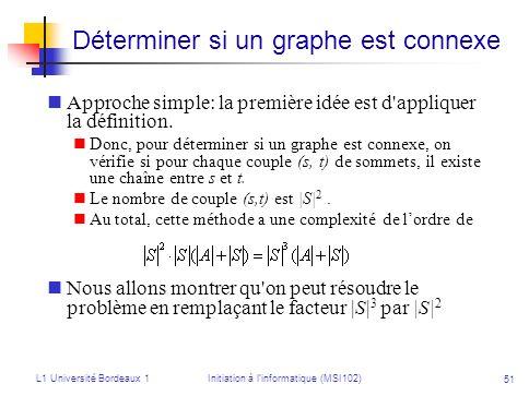 L1 Université Bordeaux 1Initiation à linformatique (MSI102) 51 Déterminer si un graphe est connexe Approche simple: la première idée est d'appliquer l