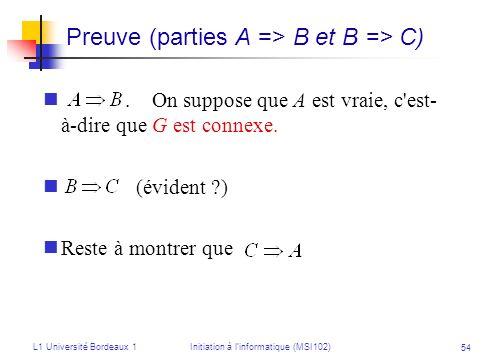 L1 Université Bordeaux 1Initiation à linformatique (MSI102) 54 Preuve (parties A => B et B => C). On suppose que A est vraie, c'est- à-dire que G est