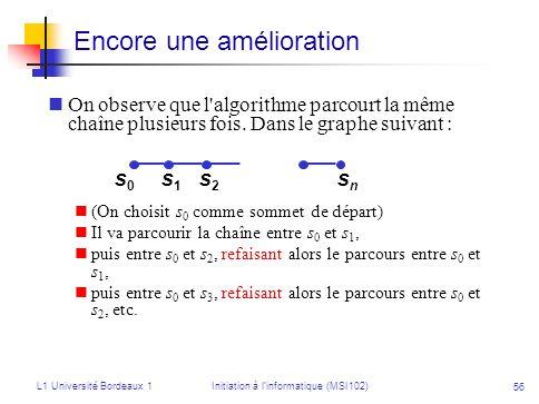 L1 Université Bordeaux 1Initiation à linformatique (MSI102) 56 Encore une amélioration On observe que l'algorithme parcourt la même chaîne plusieurs f