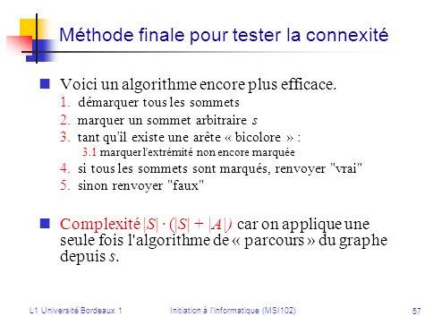 L1 Université Bordeaux 1Initiation à linformatique (MSI102) 57 Méthode finale pour tester la connexité Voici un algorithme encore plus efficace. 1.dém