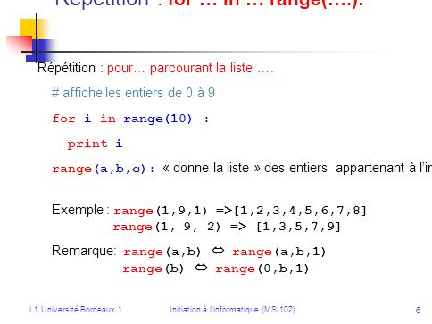 L1 Université Bordeaux 1Initiation à linformatique (MSI102) 7 Notion de fonction En maths : soit la fonction f : x 2x 2 + 1 décrit la façon de calculer f(x) à partir de la donnée x En Python : def f(x) : return 2 * x * x + 1 # exemples dappel de la fonction y = 2 * f(2) print f(5) for k in range(10) : print f(k) Une fonction Python peut utiliser d autres fonctions.