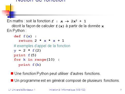 L1 Université Bordeaux 1Initiation à linformatique (MSI102) 7 Notion de fonction En maths : soit la fonction f : x 2x 2 + 1 décrit la façon de calcule