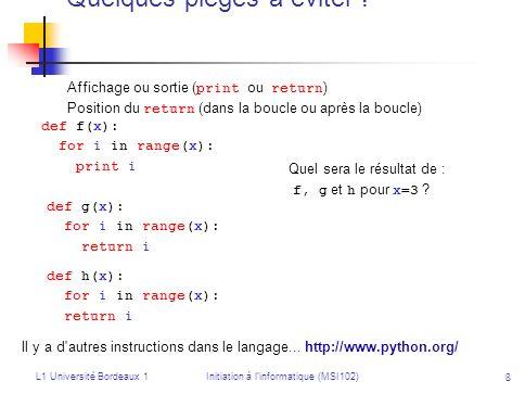 L1 Université Bordeaux 1Initiation à linformatique (MSI102) 29 Exemple inc(s 1 ) = {a 1, a 2, a 3 } inc(s 2 ) = {a 3, a 4, a 5 } inc(s 3 ) = {a 4, a 5 } inc(s 4 ) = s1s1 s4s4 s2s2 s3s3 a3a3 a2a2 a4a4 a5a5 a1a1 S = {s 1, s 2, s 3, s 4 } A = {a 1, a 2, a 3, a 4, a 5 } a 3 inc(s 1 ) et a 3 inc(s 2 ) donc s 1 et s 2 sont les extrémités de larête a 3