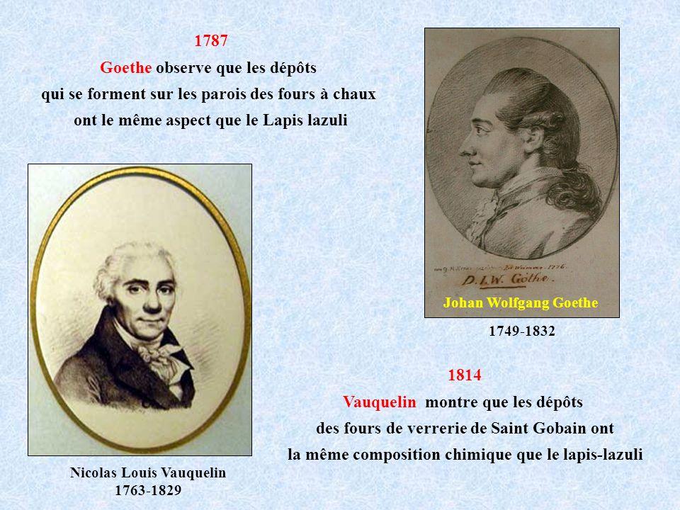 1787 Goethe observe que les dépôts qui se forment sur les parois des fours à chaux ont le même aspect que le Lapis lazuli 1814 Vauquelin montre que le