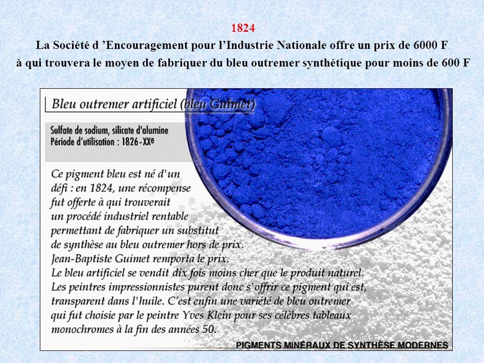1824 La Société d Encouragement pour lIndustrie Nationale offre un prix de 6000 F à qui trouvera le moyen de fabriquer du bleu outremer synthétique po