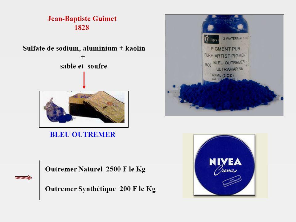 Jean-Baptiste Guimet 1828 Sulfate de sodium, aluminium + kaolin + sable et soufre BLEU OUTREMER Outremer Naturel 2500 F le Kg Outremer Synthétique 200