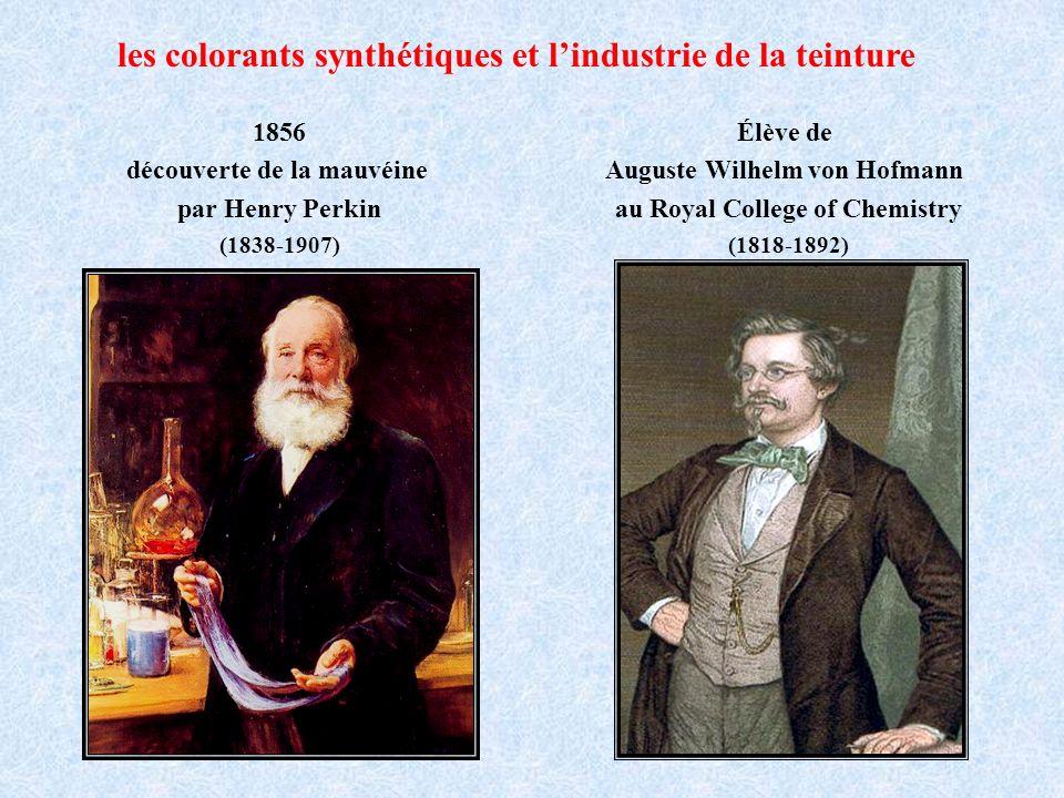 Découverte de la mauvéine par Henry Perkin - 1856 quinine = C 20 H 24 N 2 O 2 2C 10 H 13 N + 3OC 20 H 24 N 2 O 2 + H 2 O ppté rouge-brun .