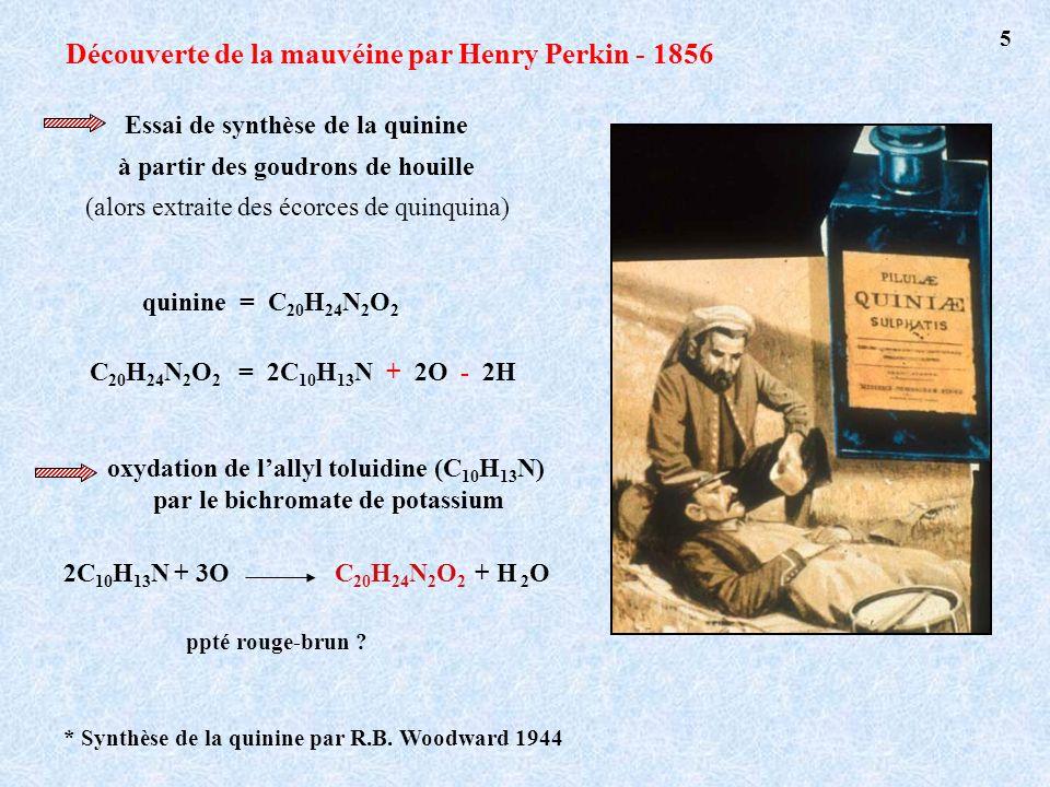 Découverte de la mauvéine par Henry Perkin - 1856 quinine = C 20 H 24 N 2 O 2 2C 10 H 13 N + 3OC 20 H 24 N 2 O 2 + H 2 O ppté rouge-brun ? Essai de sy