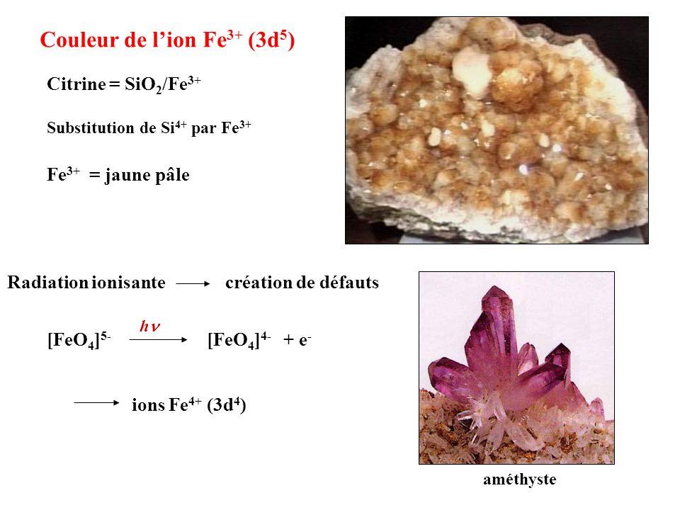 améthyste Substitution de Si 4+ par Fe 3+ Fe 3+ = jaune pâle [FeO 4 ] 5- [FeO 4 ] 4- h + e - Radiation ionisante création de défauts Citrine = SiO 2 /