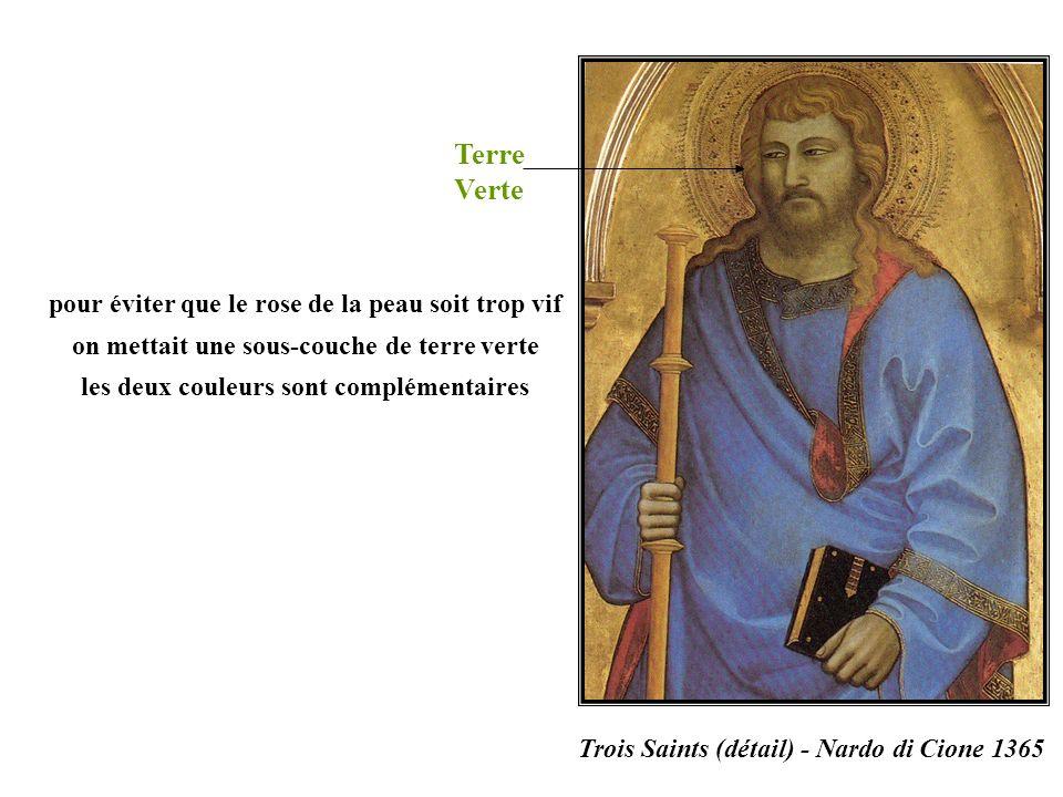 Terre Verte Trois Saints (détail) - Nardo di Cione 1365 pour éviter que le rose de la peau soit trop vif on mettait une sous-couche de terre verte les