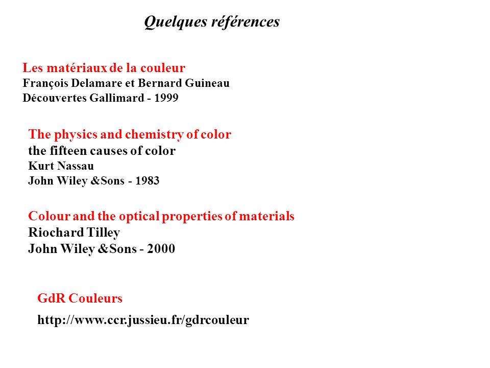 Quelques références Les matériaux de la couleur François Delamare et Bernard Guineau Découvertes Gallimard - 1999 The physics and chemistry of color t