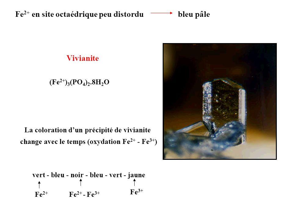 Fe 2+ en site octaédrique peu distordu bleu pâle Vivianite (Fe 2+ ) 3 (PO 4 ) 2.8H 2 O La coloration dun précipité de vivianite change avec le temps (
