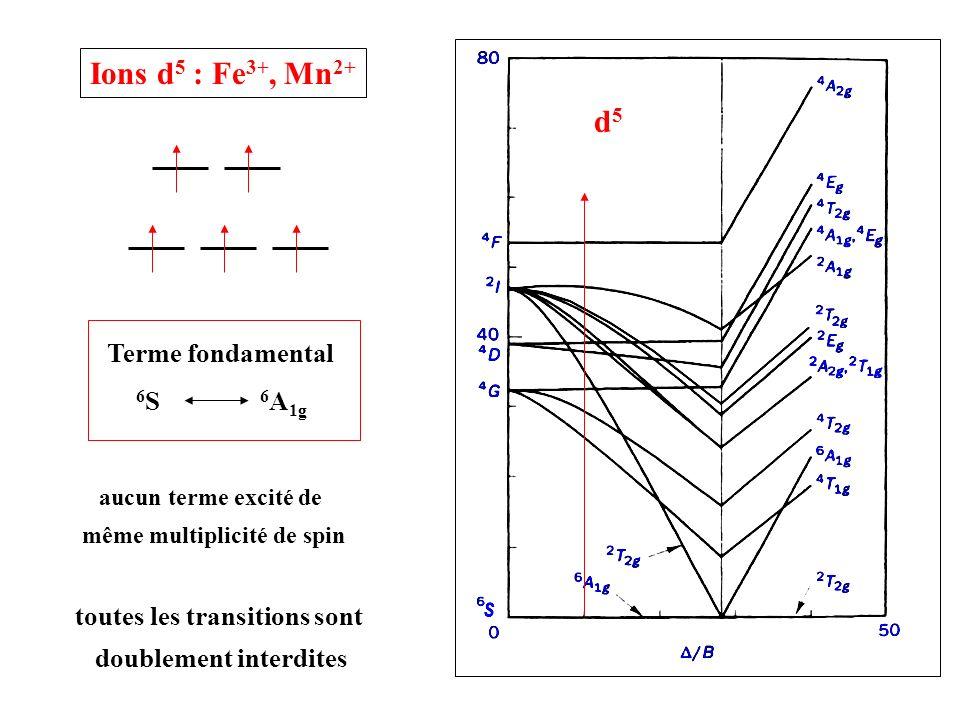 d5d5 Terme fondamental 6 S 6 A 1g Ions d 5 : Fe 3+, Mn 2+ toutes les transitions sont doublement interdites aucun terme excité de même multiplicité de