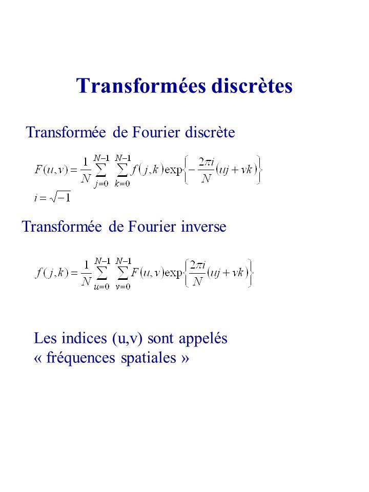 Transformées discrètes Transformée de Fourier discrète Transformée de Fourier inverse Les indices (u,v) sont appelés « fréquences spatiales »