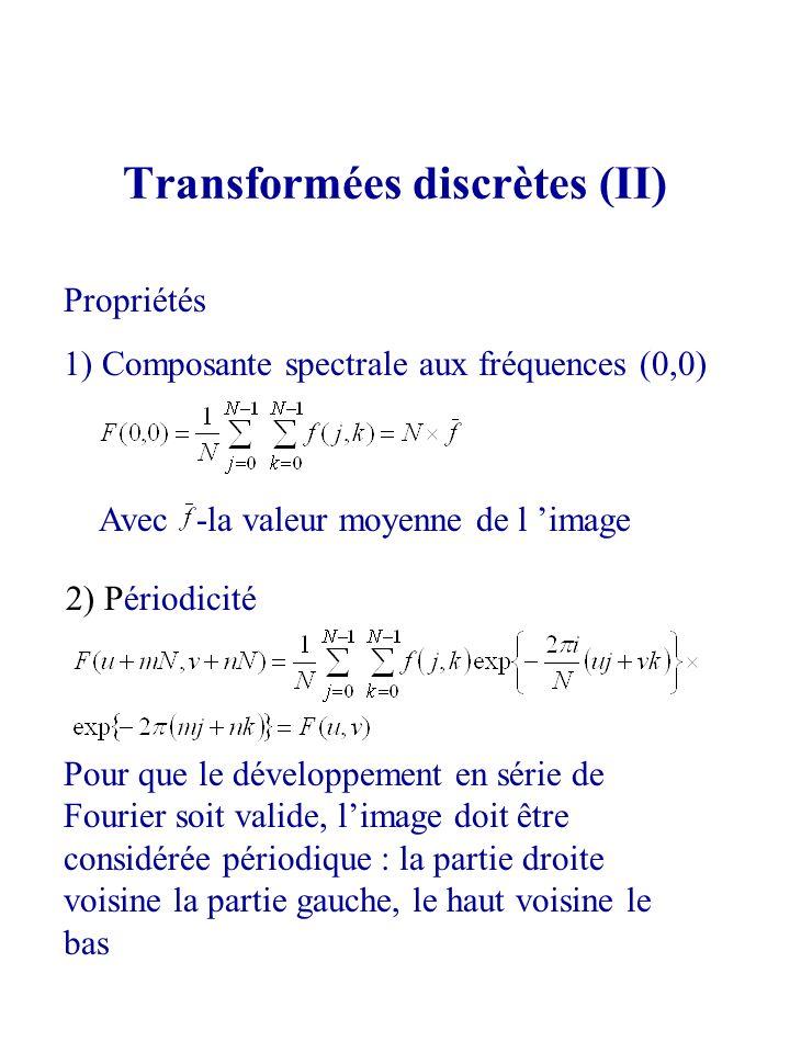 Transformées discrètes (II) Propriétés 1) Composante spectrale aux fréquences (0,0) Avec -la valeur moyenne de l image 2) Périodicité Pour que le déve