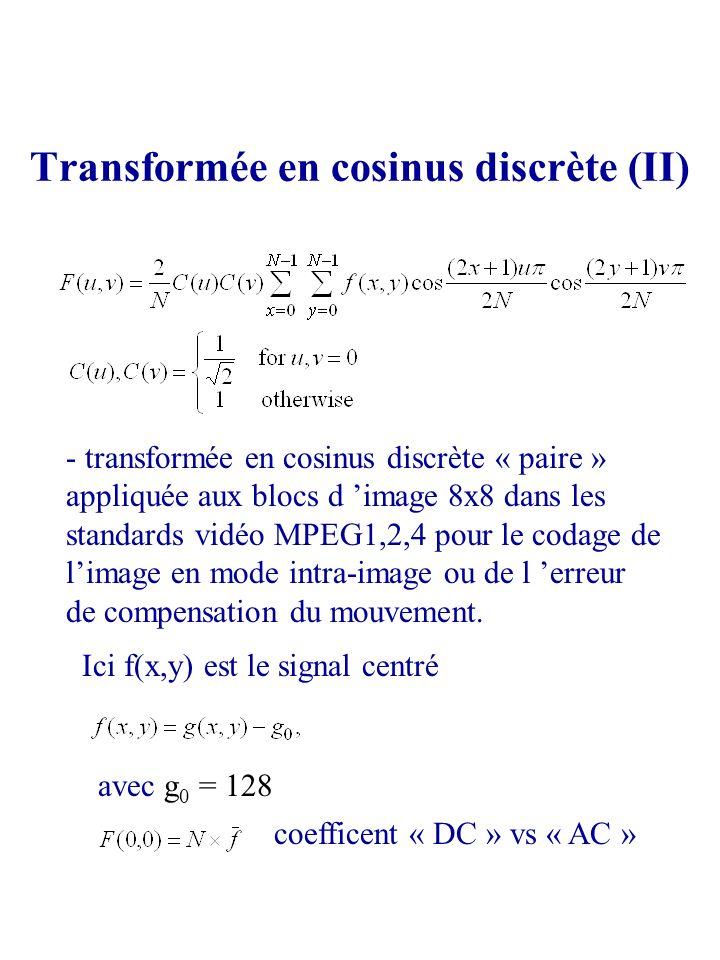 Transformée en cosinus discrète (II) - transformée en cosinus discrète « paire » appliquée aux blocs d image 8x8 dans les standards vidéo MPEG1,2,4 po