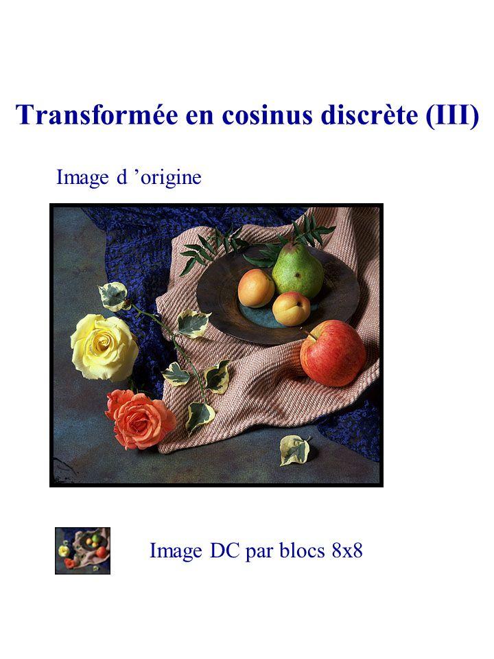 Transformée en cosinus discrète (III) Image d origine Image DC par blocs 8x8