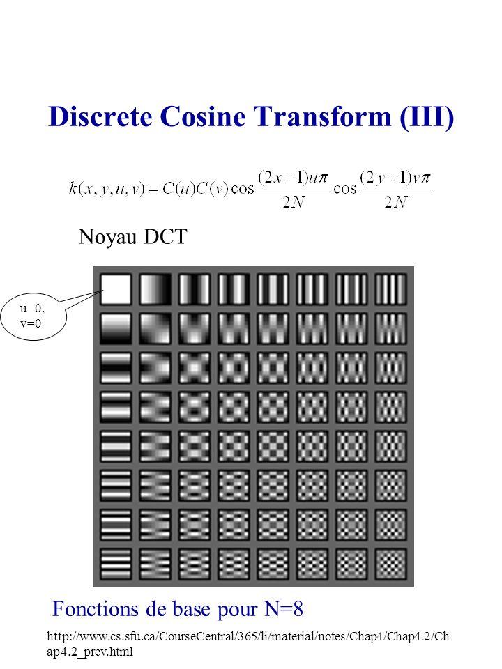 Discrete Cosine Transform (III) Fonctions de base pour N=8 http://www.cs.sfu.ca/CourseCentral/365/li/material/notes/Chap4/Chap4.2/Ch ap4.2_prev.html N