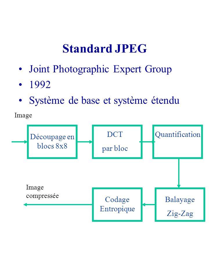 Standard JPEG Joint Photographic Expert Group 1992 Système de base et système étendu Découpage en blocs 8x8 DCT par bloc Quantification Balayage Zig-Z