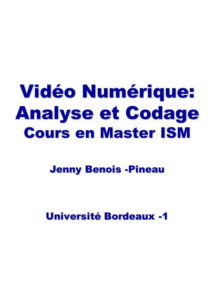 Vidéo Numérique: Analyse et Codage Cours en Master ISM Jenny Benois -Pineau Université Bordeaux -1 Vidéo Numérique: Analyse et Codage Cours en Master