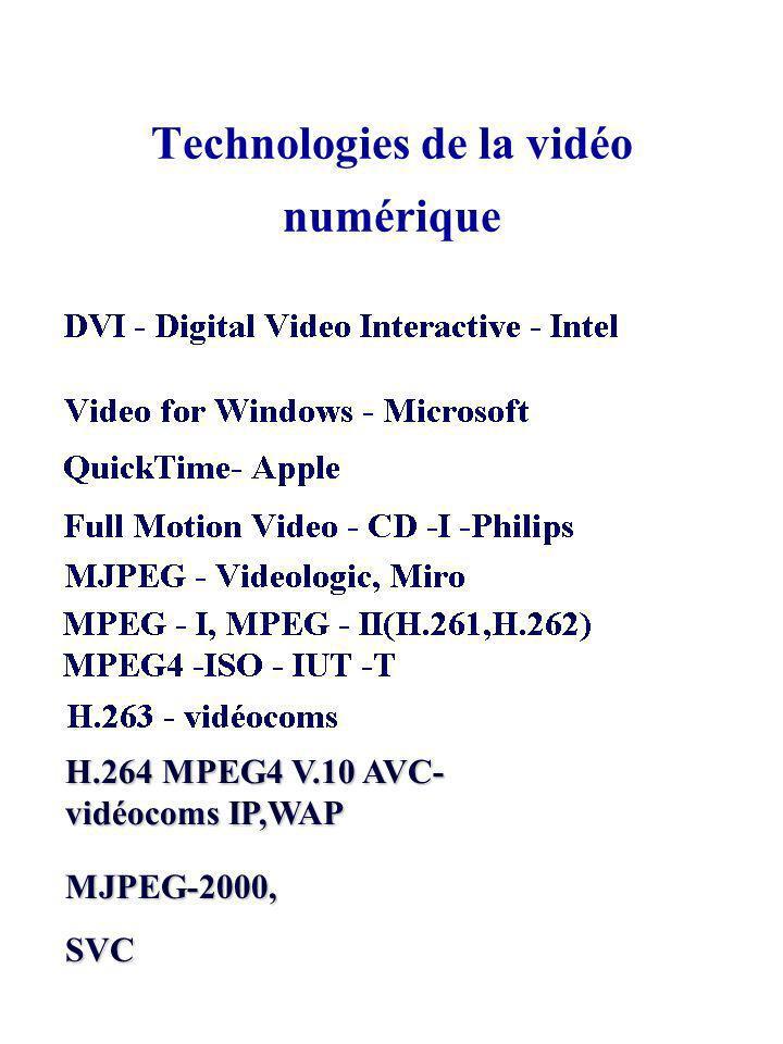 Technologies de la vidéo numérique MJPEG-2000,SVC H.264 MPEG4 V.10 AVC- vidéocoms IP,WAP