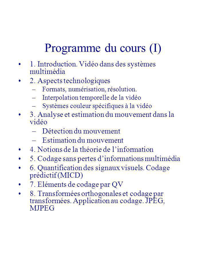 Programme du cours (I) 1. Introduction. Vidéo dans des systèmes multimédia 2. Aspects technologiques –Formats, numérisation, résolution. –Interpolatio
