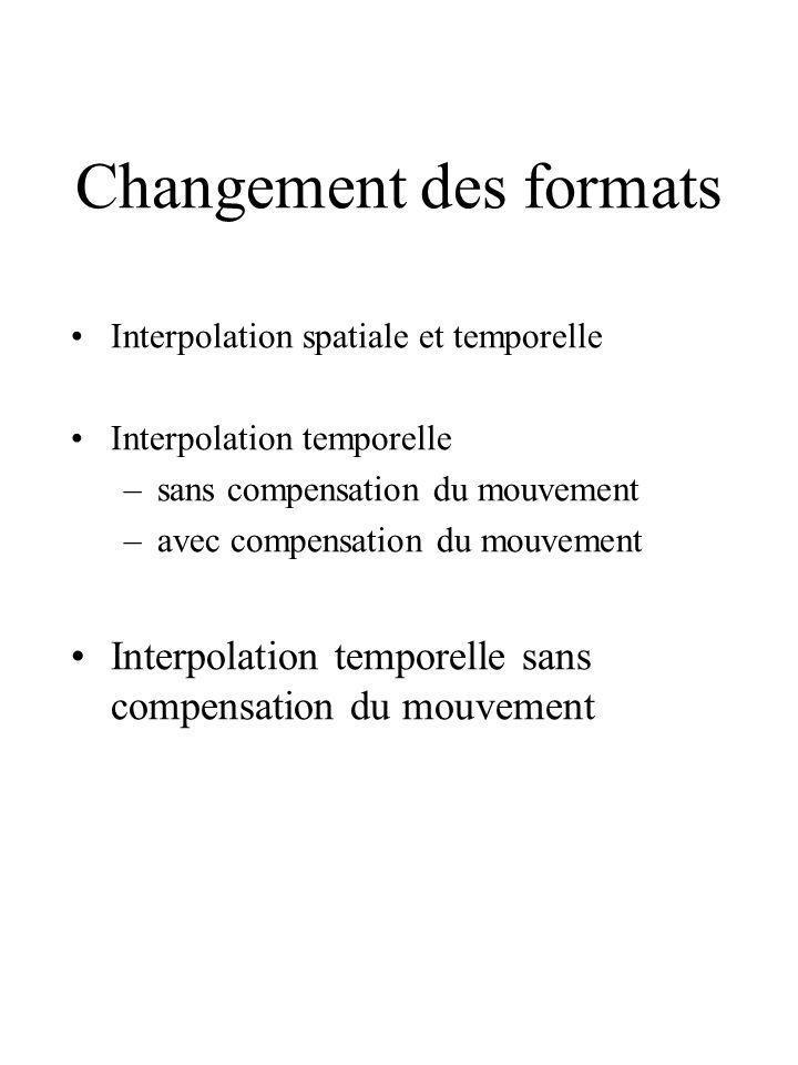 Changement des formats Interpolation spatiale et temporelle Interpolation temporelle –sans compensation du mouvement –avec compensation du mouvement I