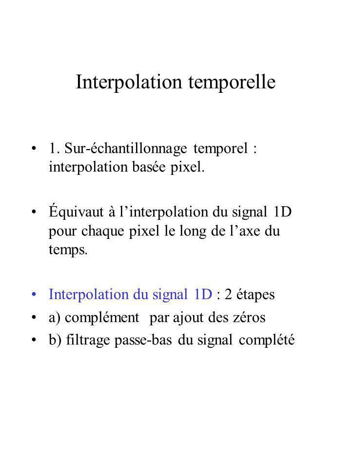 Interpolation temporelle 1. Sur-échantillonnage temporel : interpolation basée pixel. Équivaut à linterpolation du signal 1D pour chaque pixel le long